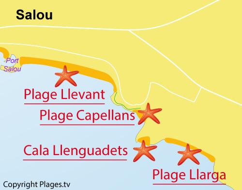 Carte de la plage des Capellans - Salou