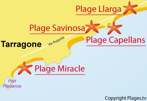 Carte de la plage des Capellans à Tarragone
