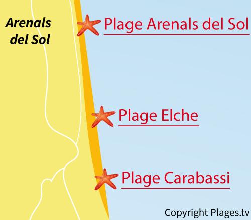 Carte de la plage de Carabassi à Elche - Espagne
