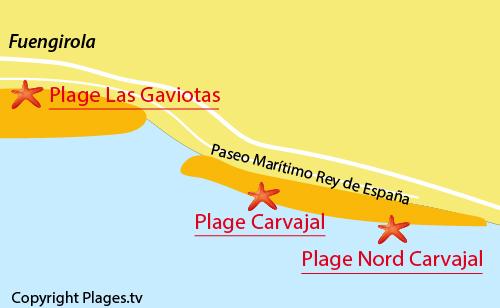 Carte de la plage de Carvajal - Fuengirola