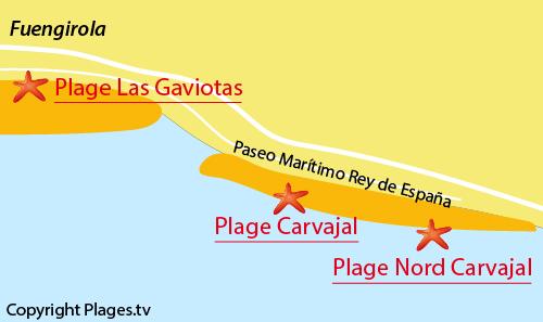 Carte de la plage nord de Carvajal - Fuengirola