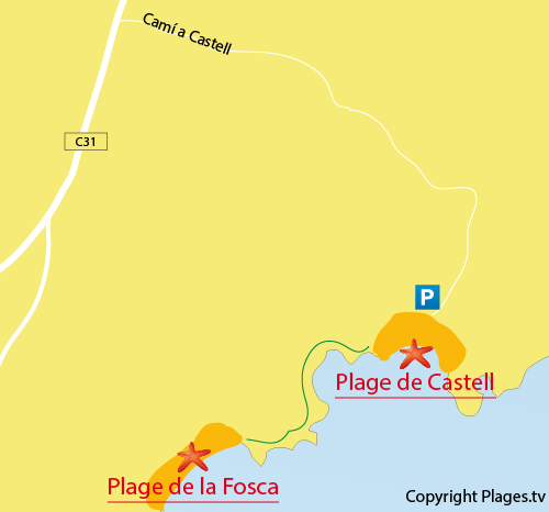 Carte de la plage du Castell en Espagne - Palamos