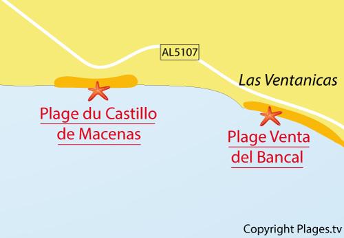 Carte de la plage du Castillo de Macenas à Mojacar