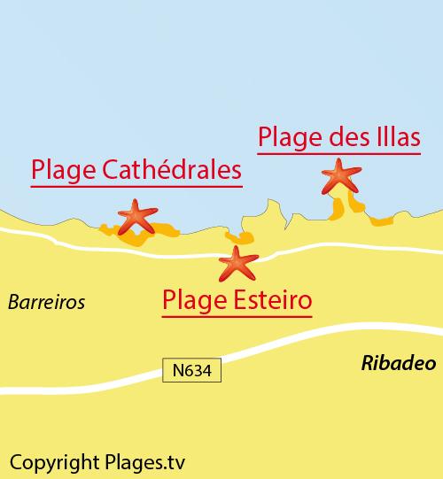Carte de la plage des Cathédrales à Ribadeo