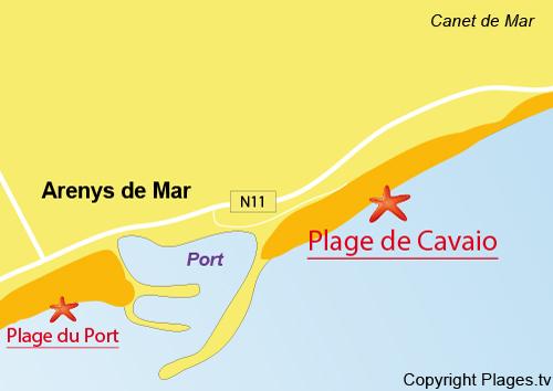 Carte de la plage de Cavaio à Arenys de Mar en Espagne
