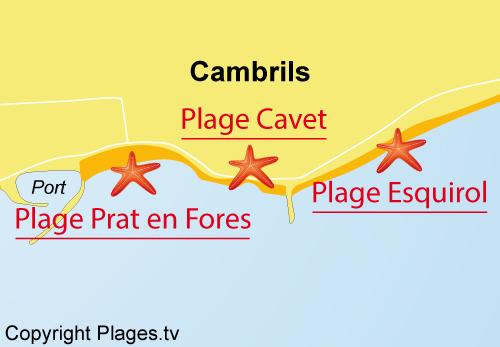 Carte de la plage de Cavet à Cambrils
