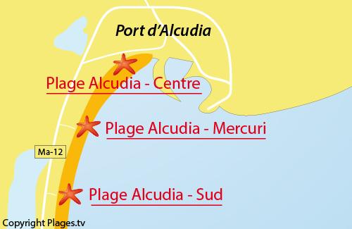Carte de la plage du centre d'Alcudia