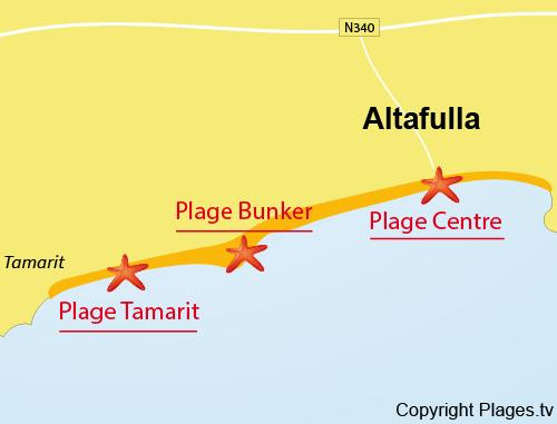 Carte de la plage du Centre à Altafulla en Espagne