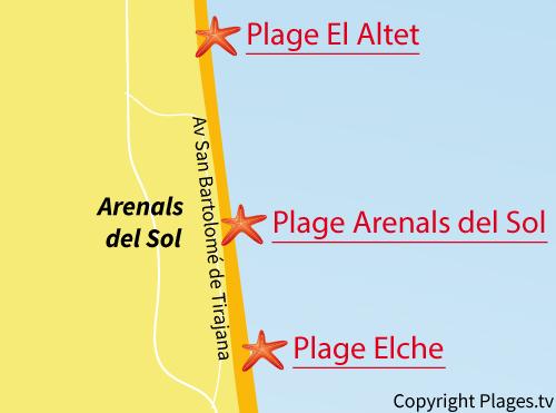 Carte de la plage du Centre à Arenals del Sol - Espagne