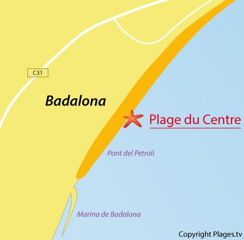 Carte de la plage du centre de Badalona