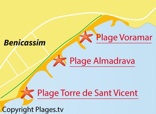Carte de la plage du centre de Benicassim en Espagne
