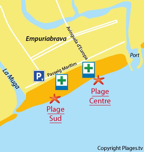 Carte de la plage du Centre à Empuriabrava