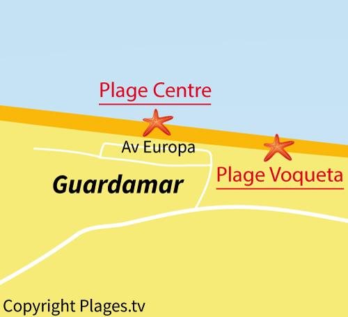 Carte de la plage du Centre de Guardamar