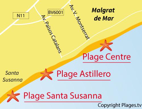 Carte de la plage du Centre à Malgrat de Mar - Espagne