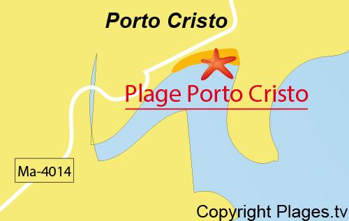 Carte de la plage du centre de Porto Cristo à Majorque