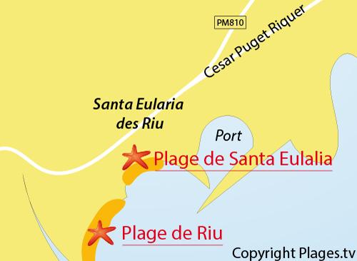 Carte de la plage du centre à Santa Eulalia - Ibiza