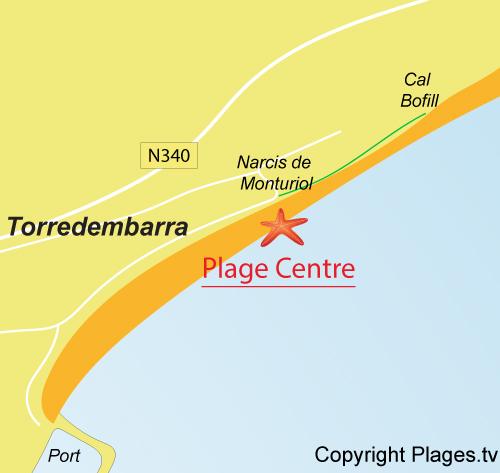 Carte de la plage centrale de Torredembarra
