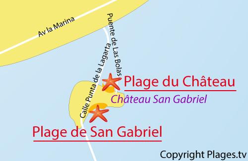 Carte de la plage du Chateau à Arrecife