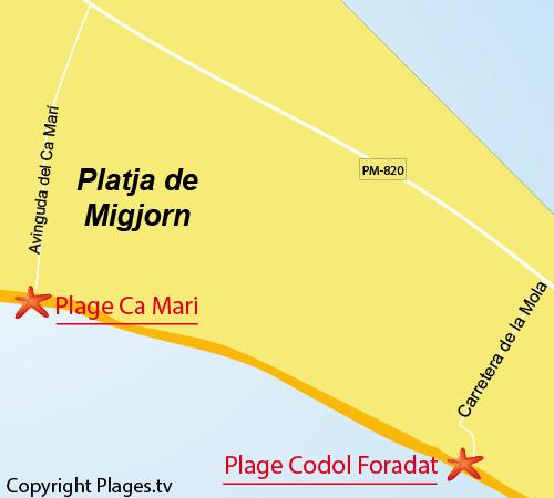 Carte de la plage de Codol Foradat - Platja Migjorn