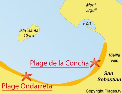 Map of Concha Beach in San Sebastian - Spain