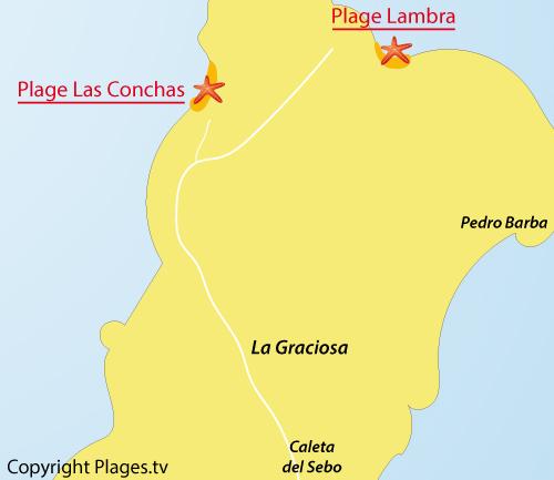 Map of Conchas beach in La Graciosa - Lanzarote