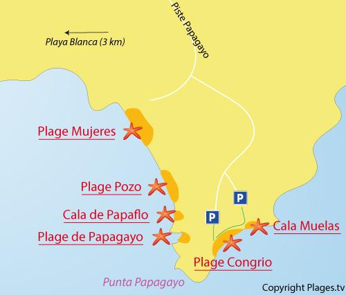 Carte de la plage de Congrio à Lanzarote