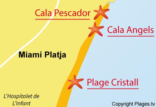 Carte de la plage Cristall à Miami Platja