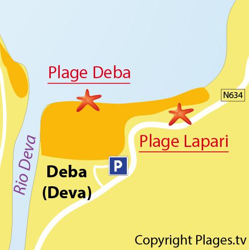 Carte de la plage de Deba en Espagne