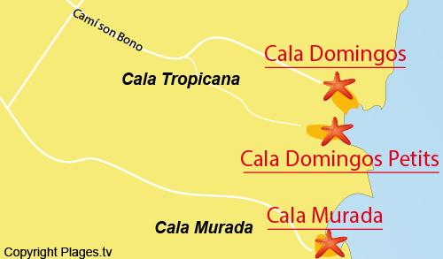 Carte de la plage de Domingos à Cala Tropicana - Majorque