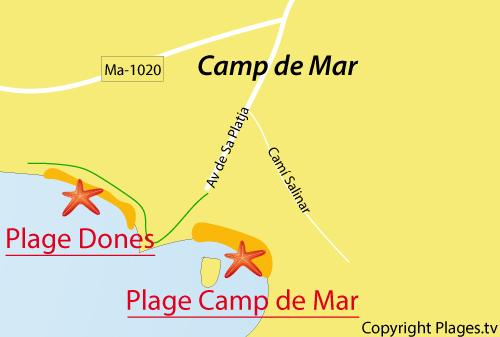Carte de la plage de Ses Dones à Camp de Mar à Majorque