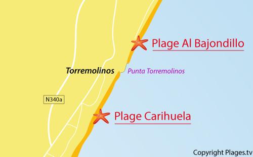 Carte de la plage d'El Bajondillo à Torremolinos