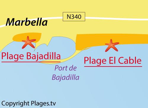 Carte de la plage El Cable à Marbella