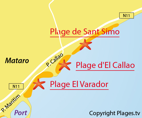Carte de la plage d'El Callao à Mataro - Espagne