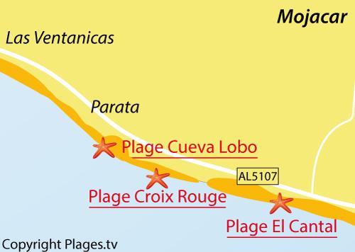 Carte de la plage El Cantal à Mojacar