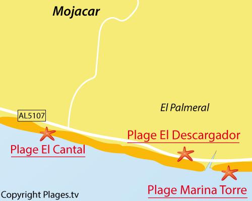 Carte de la plage El Descargador à Mojacar