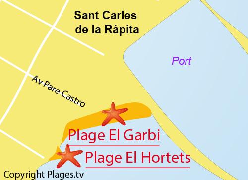 Carte de la plage El Garbi à Sant Carles de la Rapita en Espagne