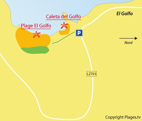 Carte de la plage d'El Golfo à Lanzarote