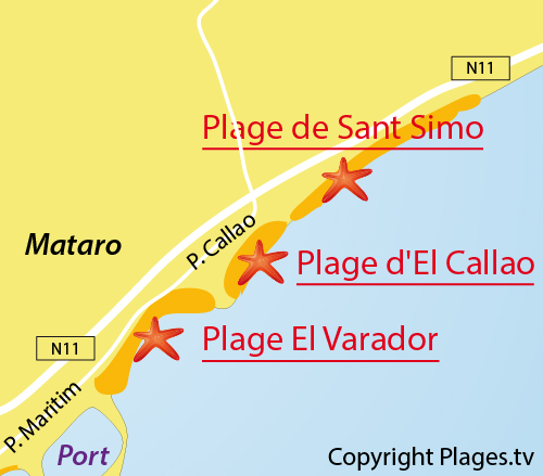 Map of El Varador Beach in Mataro