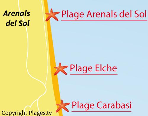 Carte de la plage de Elche à Los Arenales del Sol