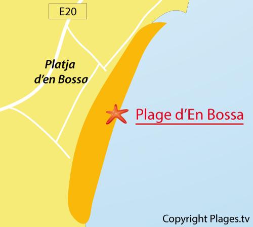 Carte de la plage d'En Bossa à Ibiza