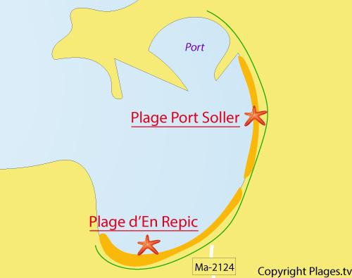 Carte de la plage En Repic à Majorque