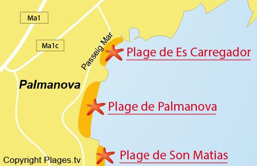 Carte de la plage Es Carregador à Majorque