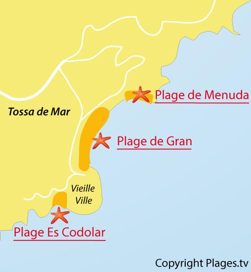 Carte de la plage d'Es Codolar à Tossa de Mar