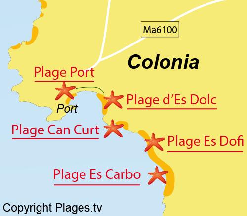 Carte de la plage Es Dolc à Majorque - Colonia de Sant Jordi