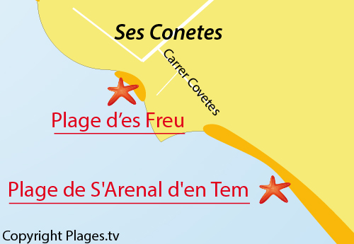 Carte de la crique Es Freu à Ses Covetes - Majorque