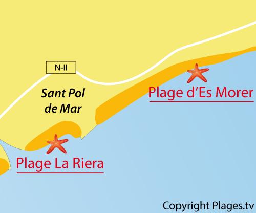 Carte de la plage d'Es Morer à Sant Pol de Mar
