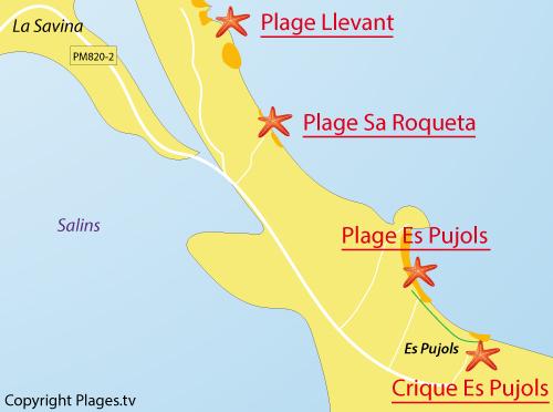 Carte de la plage Es Pujols à Formentera