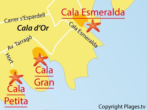 Carte de la Cala Esmeralda à Cala d'Or - Majorque