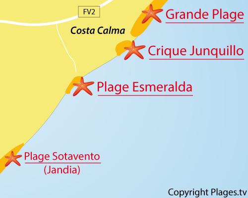 Carte de la plage Esmeralda à Costa Calma - Fuerteventura