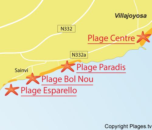 Carte de la plage Esparello à La Vila Joiosa